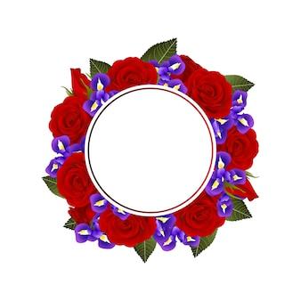 Rode roos en iris bloem banner krans