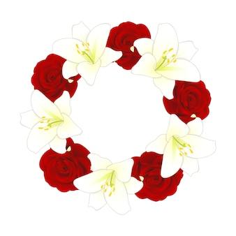 Rode roos en witte lelie bloem kerst krans