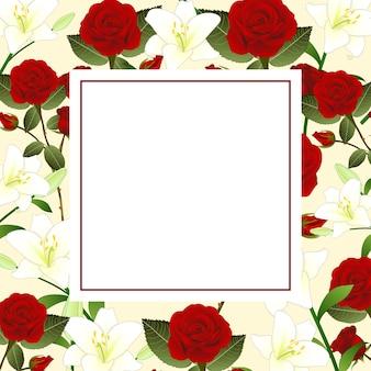 Rode roos en witte lelie bloem kerstmis beige ivoren banner kaart
