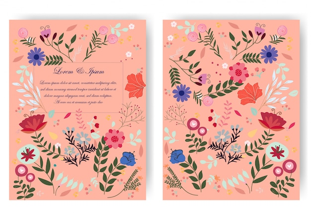 Rode roze botanische wilde bloem bruiloft kaart