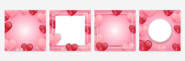 Rode, roze en witte harten liefde sjabloon set. papier gesneden decoraties voor valentijnsdag banner