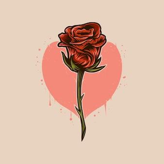 Rode roze stambloem met het ontwerp van de hartillustratie