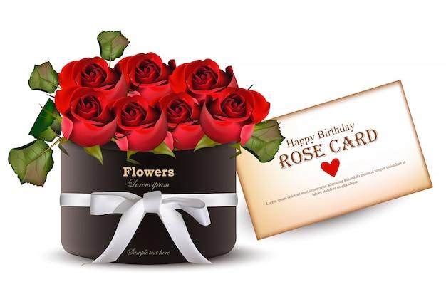 Rode rozen bloemen boeket kaart