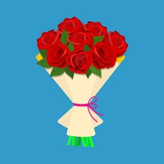 Rode rozen boeket. in platte stijl