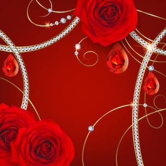 Rode rozen en robijnen. vakantie achtergrond voor valentijnsdag uitnodiging