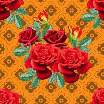 Rode rozen en thais grafisch bloem naadloos patroon