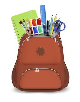 Rode rugzak met schoolbenodigdheden vector geïsoleerde illustratie d realistische studententas met briefpapier