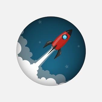 Rode ruimte raketlancering model pictogram en vlam op nachtelijke hemel en rook achtergrond.
