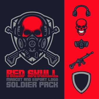 Rode schedel mascotte en esports logo pack