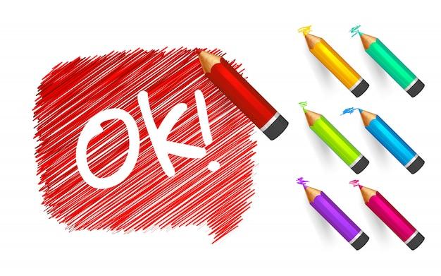 Rode schetsbanner ok getekend met cartooneske kleurenpotlood.
