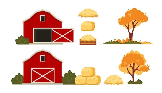 Rode schuur huis boerderij. hooioogst in de herfst.