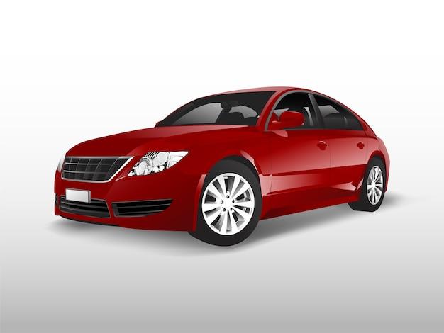 Rode sedanauto die op witte vector wordt geïsoleerd