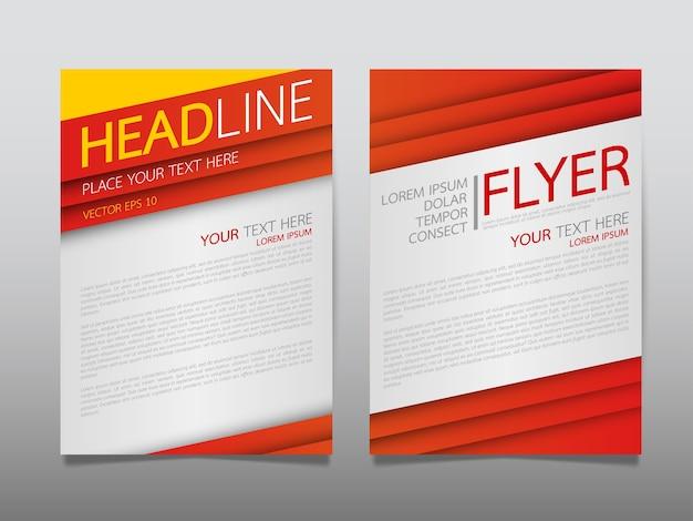 Rode sjabloon dekking zakelijke brochure lay-out.