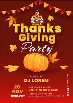 Rode sjabloon of flyer met vogel-, pompoen- en gebeurtenisdetails van turkije voor thanksgiving-feest.