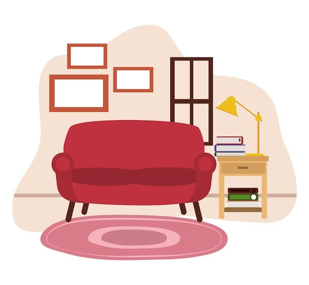 Rode sofa tafellamp boeken tapijt en raam illustratie