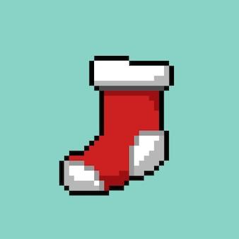 Rode sok met pixelart-stijl