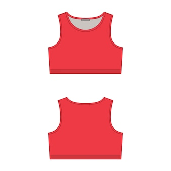 Rode sport bh technische schets op witte achtergrond. ontwerpsjabloon voor yoga-ondergoed voor dames.