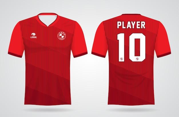 Rode sportjersey sjabloon voor teamuniformen en voetbal t-shirtontwerp
