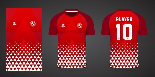 Rode sportjerseysjabloon voor teamuniformen en voetbalt-shirtontwerp
