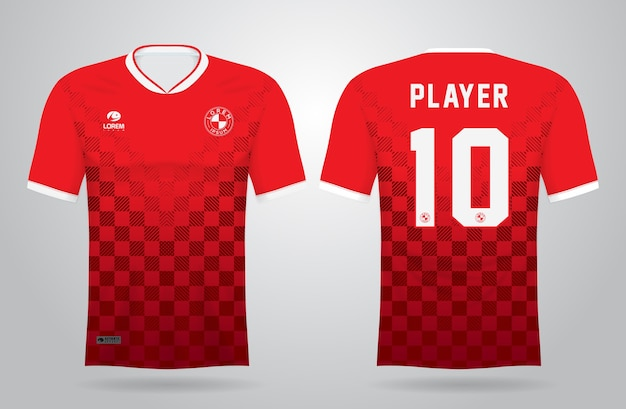 Rode sportshirt sjabloon voor teamuniformen