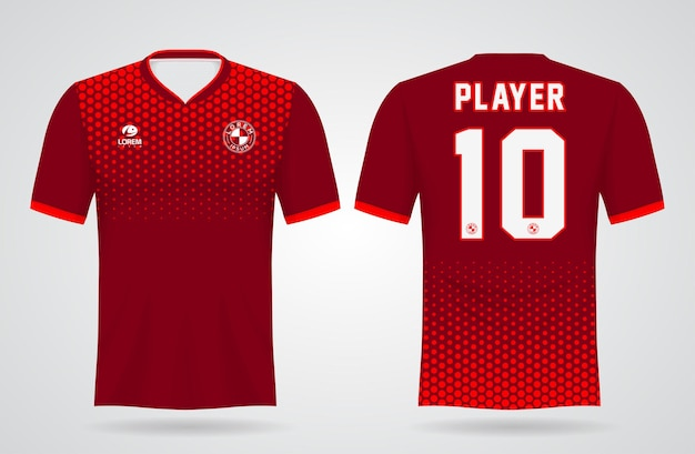 Rode sporttrui sjabloon voor teamuniformen en voetbal t-shirtontwerp