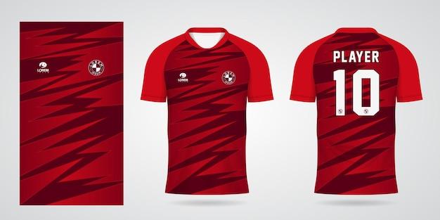 Rode sporttrui-sjabloon voor teamuniformen en voetbalt-shirtontwerp