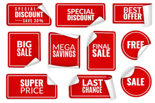 Rode stickers gekruld. inpakpapier sticker set, prijsetiketten verkoop banners gebogen rand hoekvellen. sjablonen voor reclamebadges