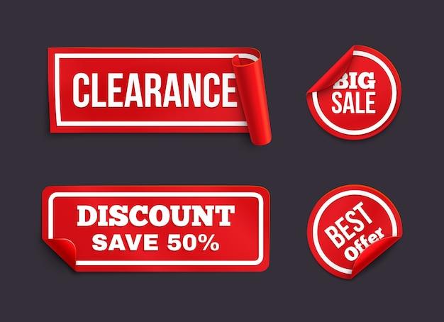 Rode stickers met gekrulde rand. stickers met het thema consumentisme.