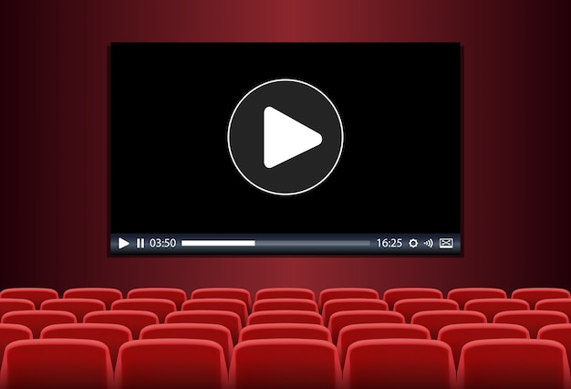 Rode stoelen voor multimedia die op een scherm worden afgespeeld