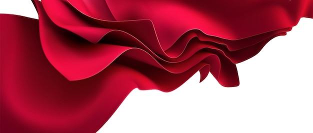 Rode streaming stof. abstracte achtergrond. 3d-afbeelding. golvend gelaagd textiel. vloeiende zijdeachtige doek. openingsceremonie of jubileum decoratie-element.