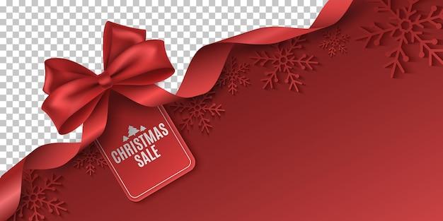 Rode strik en lint met tag voor kerstverkoop. vectorsjabloon om reclame te maken voor uw bedrijfspromoties. commercieel kortingsevenement. papieren sneeuwvlokken. eps-10.