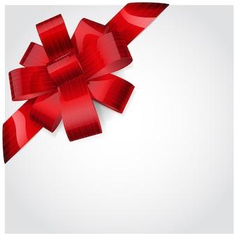 Rode strik gemaakt van glanzend gestreept lint. decoratie voor een geschenk.