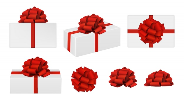 Rode strikken en geschenkdozen
