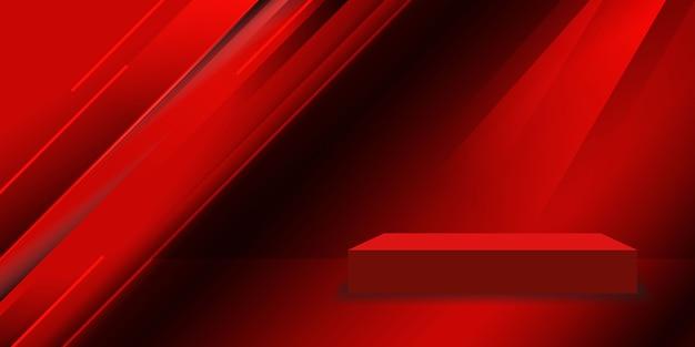 Rode studioruimte met geometrische vormachtergrond