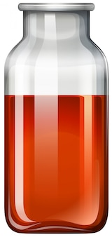 Rode substantie in glazen fles