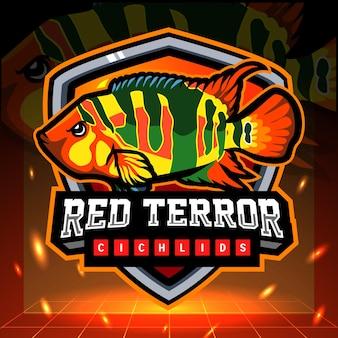 Rode terreur cichliden vis mascotte esport logo ontwerp