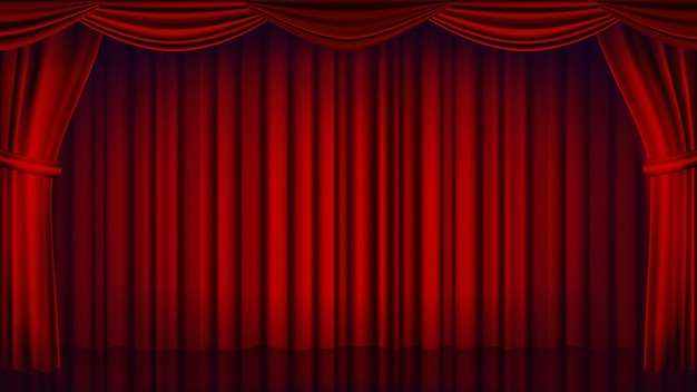 Rode theater gordijn achtergrond. theater, opera of bioscoop gesloten scène achtergrond. realistische rode gordijnen illustratie