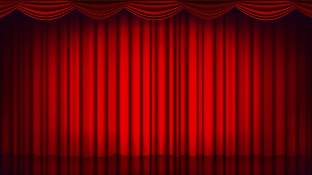 Rode theater gordijn achtergrond. theater, opera of bioscoop lege silk stage achtergrond, rode scène. realistische illustratie