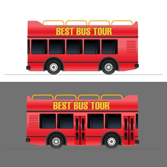 Rode toeristische bus vector illustratie set
