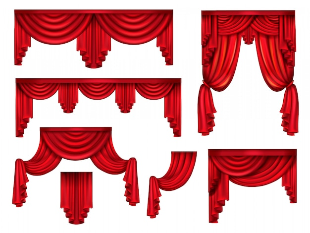 Rode toneelgordijnen, victoriaanse zijden gordijnen met kreukels