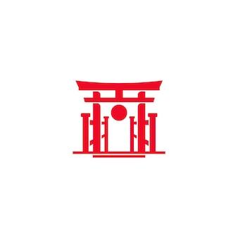 Rode torii poort van japan met sun logo