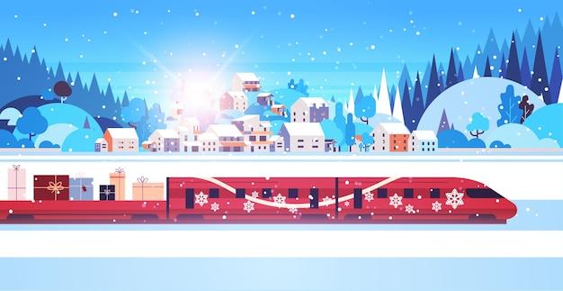 Rode trein levert geschenken vrolijk kerstfeest gelukkig nieuwjaar vakantie viering express levering concept winterlandschap achtergrond wenskaart horizontale vector illustratie