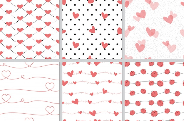 Rode valentijn doodle hart naadloze patroon collectie