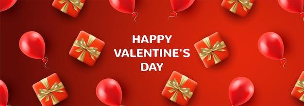 Rode valentijnsdag webbanner met geschenken en ballonnen in een realistische stijl