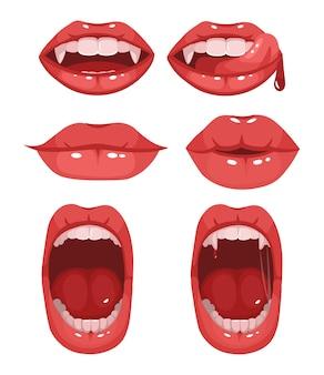 Rode vampier lippen. set van verschillende emoties. monden met lange hoektanden. cartoon vectorillustratie geïsoleerd op een witte achtergrond.