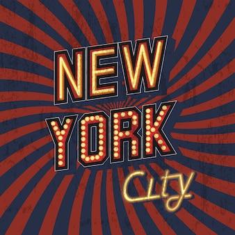 Rode vector vintage new york t-shirt print met armoedige textuur