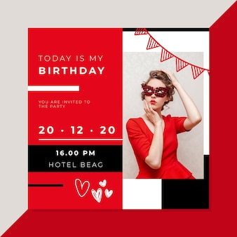 Rode verjaardagsuitnodiging met foto