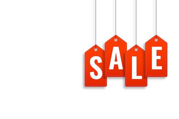 Rode verkoop prijskaartje stijl banner ontwerpsjabloon
