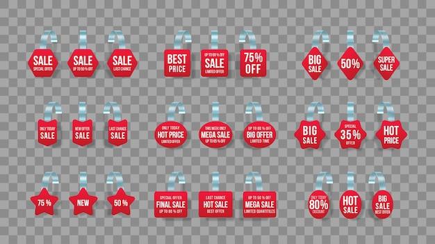 Rode verkoopmarkeringen wobblers met tekst vector korting sticker speciale aanbieding plastic prijs banner