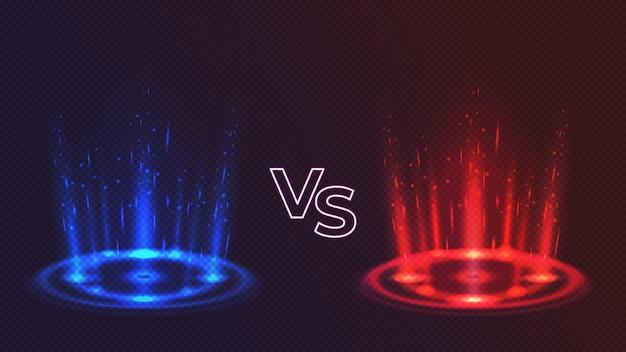 Rode versus blauwe gloeiende hologrampodia voor spelgevechten. realistisch versus concurrentie met lichteffect. magische portalen voor strijd vectorconcept. illustratie van versus hologram, game battle